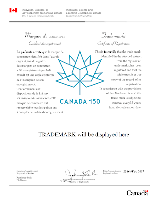 Canadian trademark registration certificate 2017 edition