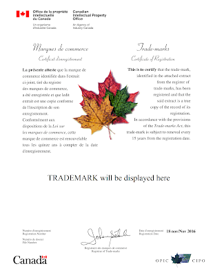 Canadian Trademark Registration Certificate 2016 edition